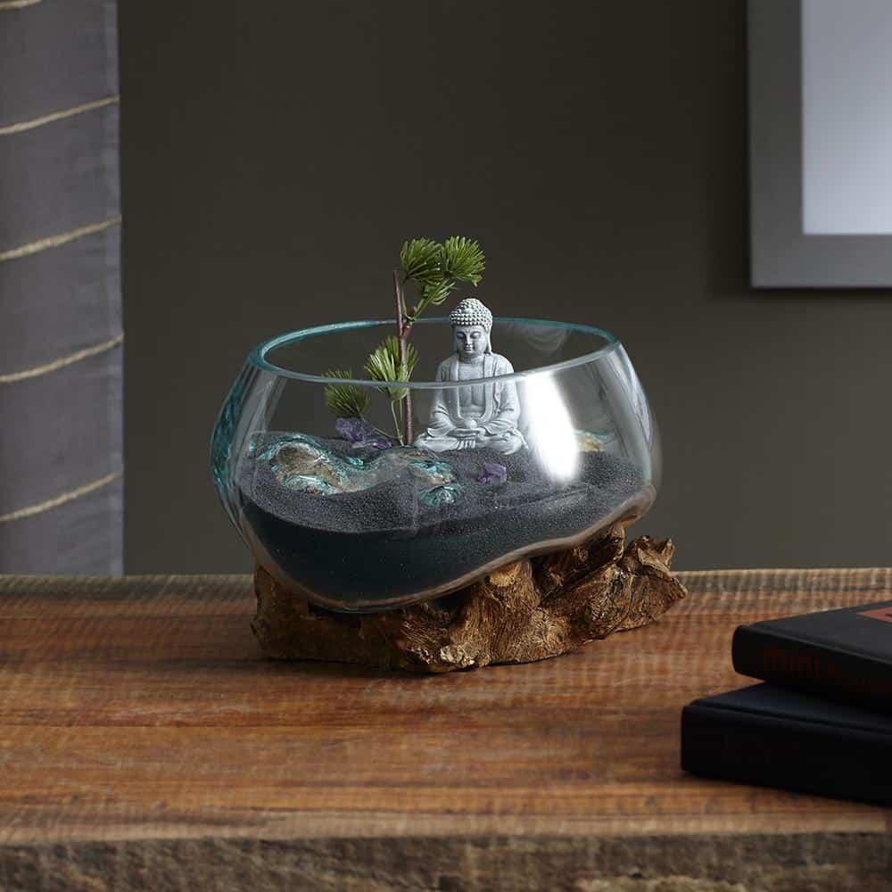 molten glass wood terrarium for home